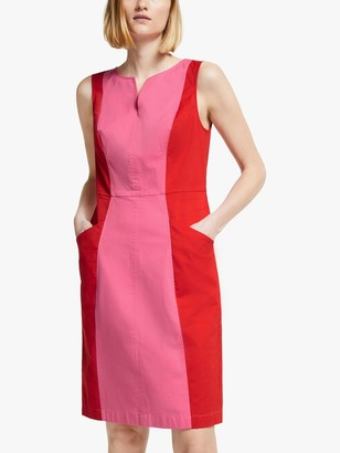Boden Helena Colour Block Mini Dress, Bright Camellia