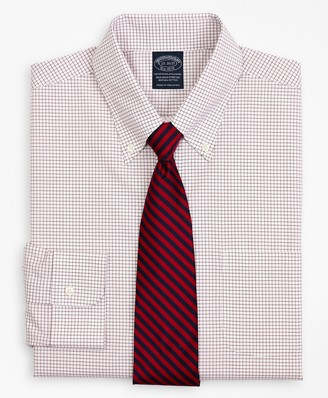 Brooks Brothers Stretch Big & Tall Dress Shirt, Non-Iron Poplin Button-Down Collar Small Grid Check