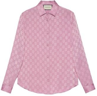 Gucci Silk Monogram Shirt Peony Blush