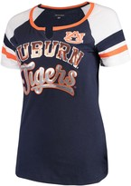 New Era Women's 5th & Ocean by Navy Auburn Tigers Baby Jersey Split Scoop Neck Ringer T-Shirt