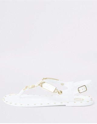River Island Girls Studded Jelly Sandal - White