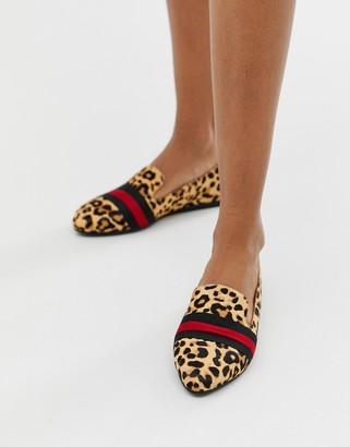 Steve Madden Nema leopard print flat shoes with contrast ribbon trim