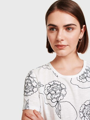 White + Warren Floral Embroidered Tee