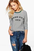 Boohoo Lily Soho Striped Slogan T-Shirt