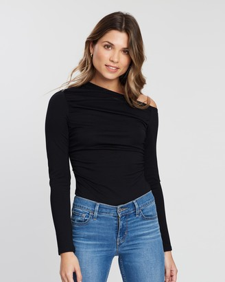 Atmos & Here Atmos&Here - Women's Black Off The Shoulder Tops - Amber Bodysuit - Size 6 at The Iconic