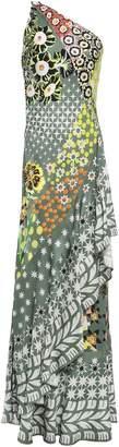 Temperley London Claudette One-shoulder Open-back Satin-jacquard Maxi Dress