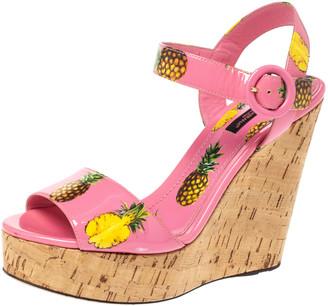 Dolce & Gabbana Pink Patent Pineapple Print Cork Platform Wedge Sandals Size 38