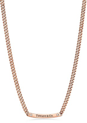 """Tiffany & Co. micro link necklace in 18k rose gold with diamonds, 16""""."""