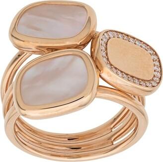Roberto Coin 18kt rose gold Black Jade diamond and quartz ring