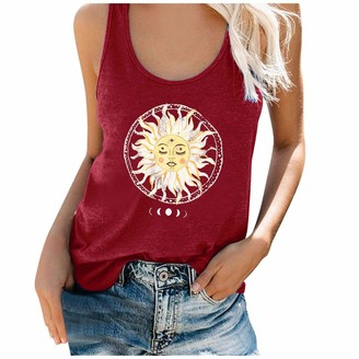 UOWEG Womens Sun Moon Print Cami Tank Top Casual Crew Neck Sleeveless Hurdle Vest Tops Basic Tees Shirt Blouse Green
