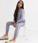 Asos DESIGN Petite tracksuit sweat / basic jogger with tie with contrast binding