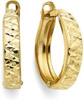 FINE JEWELRY Diamond-Cut 14K Yellow Gold 12.35mm Hinged Hoop Earrings