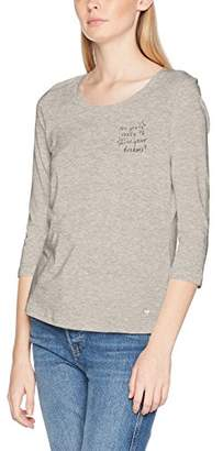 Tom Tailor Women's Scoop Neck Wording T-Shirt (Silver Grey Melange 2525), Medium