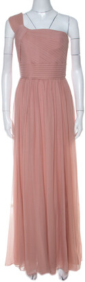 Elie Saab Dusty Pink Silk Chiffon Pleated Bodice One Shoulder Gown S