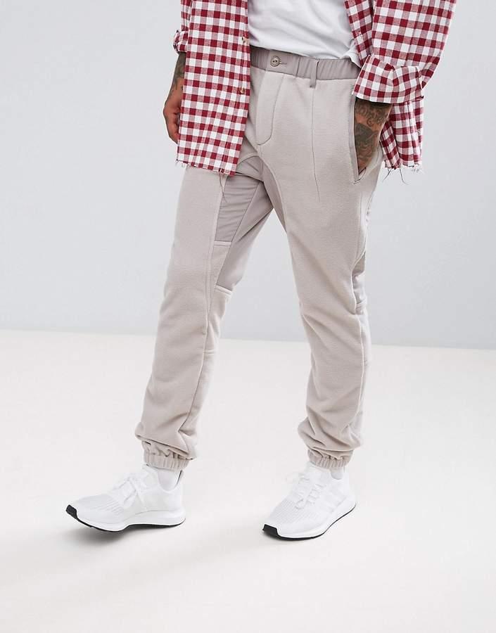 Asos Slim Pants With Fleece Panels In Beige