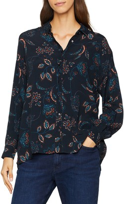 Berenice Women's JULY Long Sleeve Blouse Noir (Beige Feather Print) 8 (Manufacturer Size: 36)