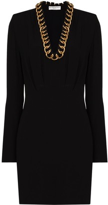 Givenchy Chain-Trim Long-Sleeve Mini Dress