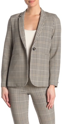 Amanda & Chelsea Glen Plaid One Button Notch Lapel Ponte Blazer