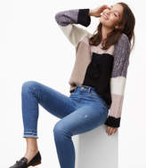 LOFT Double Frayed Skinny Jeans in Staple Mid Indigo Wash