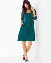 Soma Intimates 3/4 Sleeve Wrapped Waist Short Dress Deep Teal