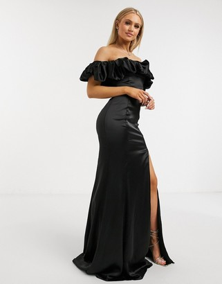 Club L London extreme ruffle detail maxi dress with thigh split in black