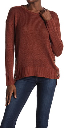 Modern Designer Side Button Crew Neck Tunic Sweater