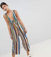 boohoo Striped Tie Front Jumpsuit