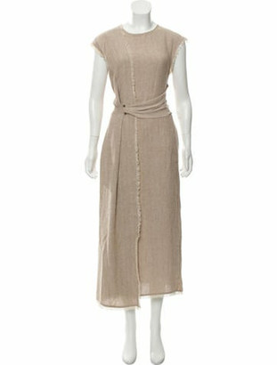 Dusan Raw Edge Maxi Dress Tan Raw Edge Maxi Dress