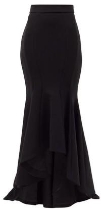 Alexandre Vauthier High-rise Fluted-hem Crepe Maxi Skirt - Womens - Black
