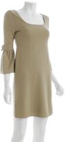 camel stretch knit ¾'' bell sleeve dress