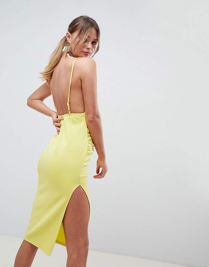 Asos Design Wrap Front Scuba Midi Dress