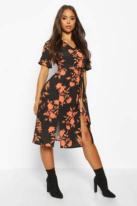 boohoo Floral Printed Woven Belted Midi Dress