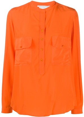 Stella McCartney Band-Collar Long-Sleeve Silk Shirt