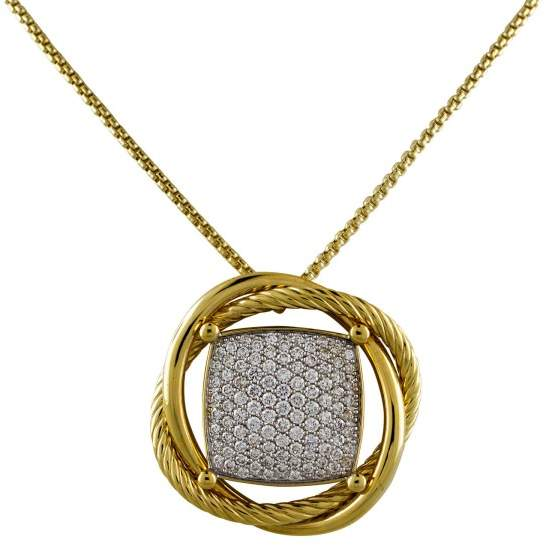 David Yurman 18K Yellow Gold Pave Cushion 1.66ct Diamond Pendant Necklace