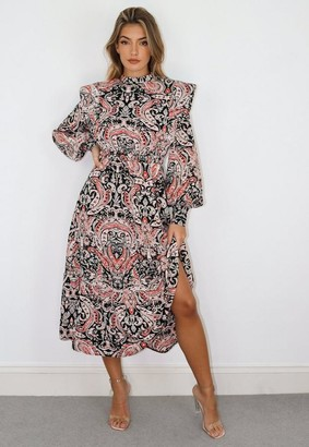 Missguided Black Paisley Print Shoulder Pad High Neck Midi Dress