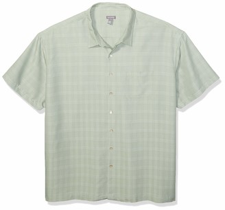 Van Heusen Men's Big & Tall Big and Tall Poly Rayon Short Sleeve Button Down Shirt