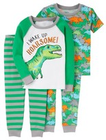 Toddler Boys' 4-Piece Snug Fit Cotton Pajamas Green Dinosaurs - Just One You Made by