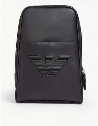 Emporio Armani Embossed eagle logo sling backpack