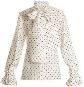 Loewe Lavallière-neck polka-dot print silk blouse
