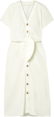 Veronica Beard Giana Tie-front Linen-blend Midi Dress