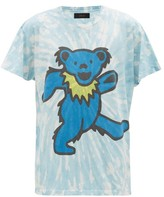Amiri Dancing Bear Tie-dye Cotton T-shirt - Mens - Blue