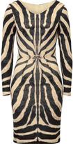Roberto Cavalli Zebra Printed Draped Wool-blend Dress
