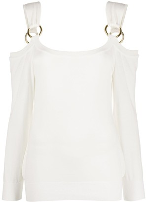 Boutique Moschino Cold Shoulder Ring-Embellished Sweatshirt