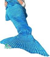 Hughapy Christmas Soft Mermaid Tail Blanket Handmade Living Room Sleeping Blanket For Kids Adult (Blue,Adult)