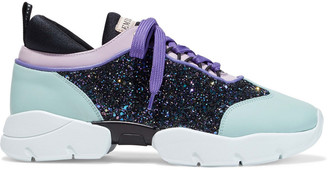 Emilio Pucci City Color-block Glittered Canvas And Leather Sneakers