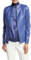 Lafayette 148 New York Lightweight Lambskin Paneled Zip-Front Jacket, Blue