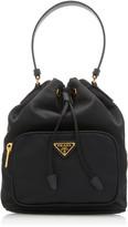 Prada Small Leather-Trimmed Nylon Bucket Bag
