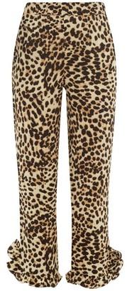 Arizona Love Abby Ruffled-cuff Leopard-print Trousers - Leopard