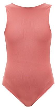 ALBUS LUMEN High-neck V-back Swimsuit - Womens - Pink
