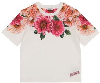 Dolce & Gabbana Kids Floral cotton jersey T-shirt